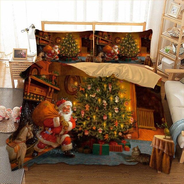 Natale Set di Biancheria Da Letto Doppia Figura Regina Re AU Singolo UK Doppio D