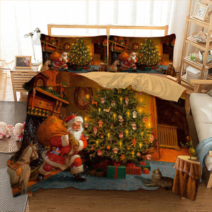 Xmas Bedding Set Twin Full Queen King AU Single UK Double Size Duvet Cover 3D Bedclothes Pillowcase Bed Linen Kid Christmas Gift