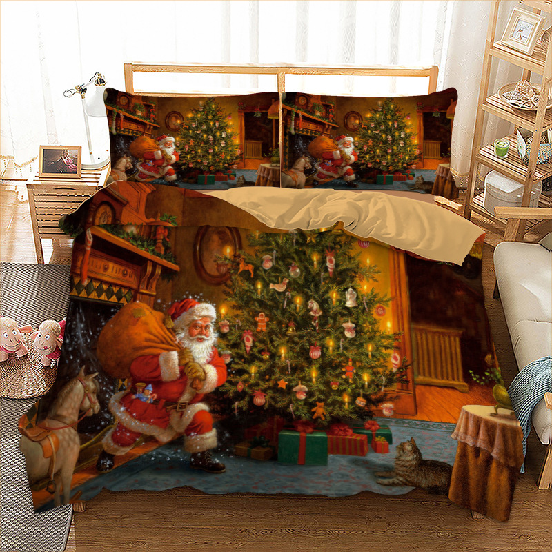 Xmas Bedding Set Twin Full Queen King AU Single UK Double Size Gift From Christmas Duvet Cover Pillow Cases 3D Bedclothes(China)