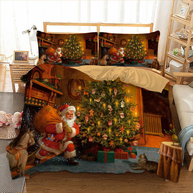 Xmas Bedding Set Twin Full Queen King Au Single Uk Double Size Gift
