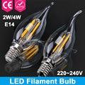 1pcs E14 Glass Led Filament Candle Light Home Lighting Ampoule Led Bulbs Energy Saving Lamp Edison Led Bombilla COB 220V 2W 4W