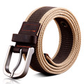 BooLawDee European American style thickened canvas belt men 110cm by 3.8cm striped pattern kahki brown black army green 8D013