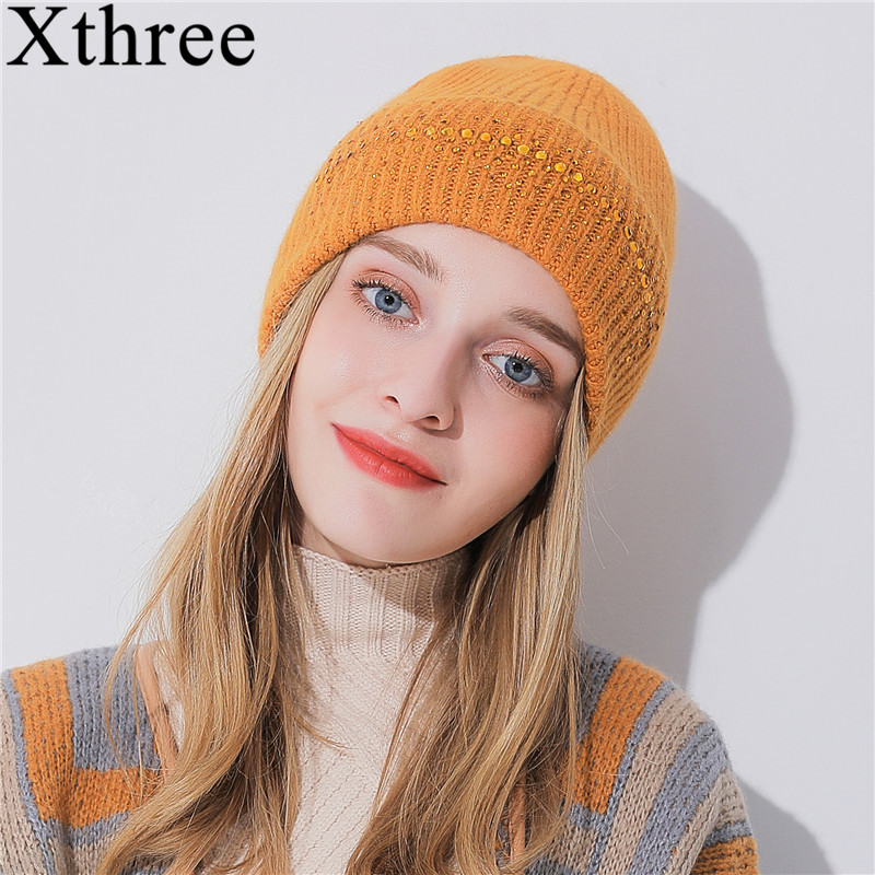 Xthree Fashion Winter Women Hats Cashmere Knitted Hat With Rhinestones Pointed   Skullies     Beanies   Hat Girl Wool Cap