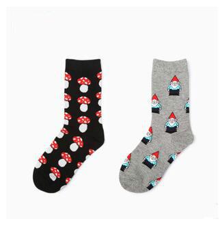 Anão cogumelos meias neutros para homens e mulheres vida criativa casal meias meias estilo japonês outono inverno Unisex meias