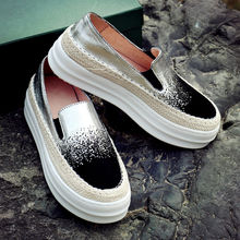 Women's Gradient Color Platform Brogues Shoes High Quality Slip-on Loafers Comfortable Moccasins Female Footwear Shoes For Women
