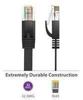 300 unids/lote 0,5 M CAT6 CAT 6 plana UTP Cable de red Ethernet RJ45 conector LAN negro/Blanco/azul