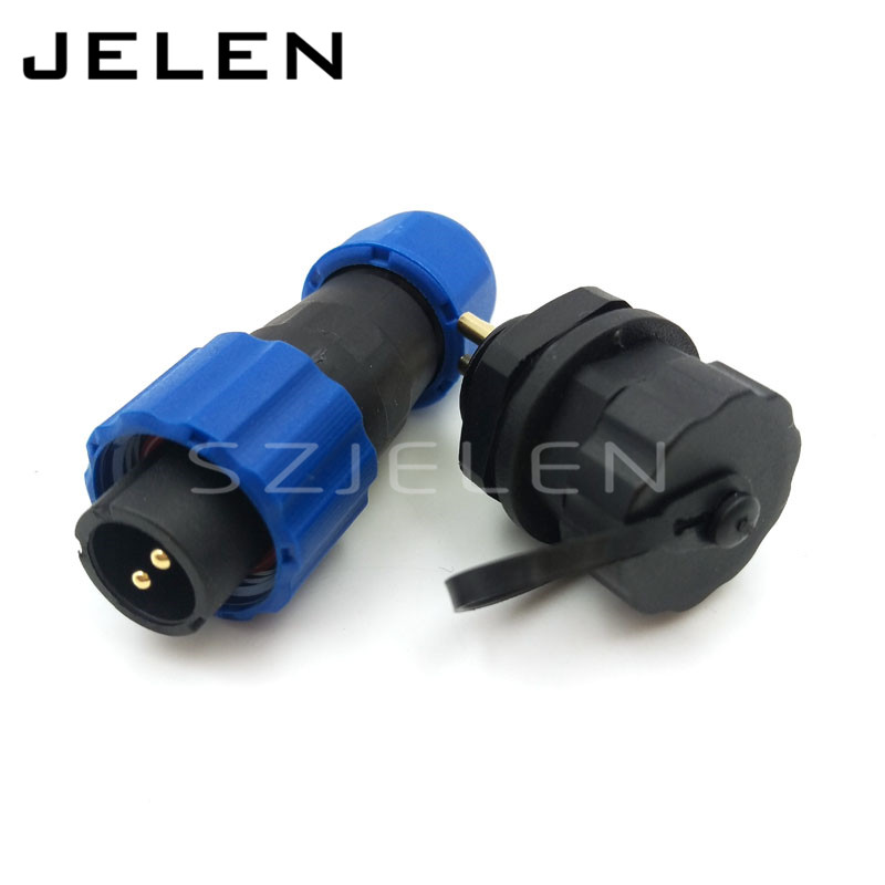SD13 2pin Male and female connector, Outdoor waterproof connector, panel mount 13mm, 2 pin plug and socket IP68