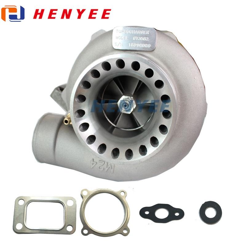 Turbo gt35 gt3582r t3 a/r.70 anti-impulso a/r.063 400-600hp 4 parafusos turbocompressor de água e óleo