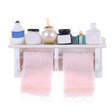 Novelty 1 12 Dollhouse Miniature Bathroom Set Towel Rack Makeup Cosmetic Accessories
