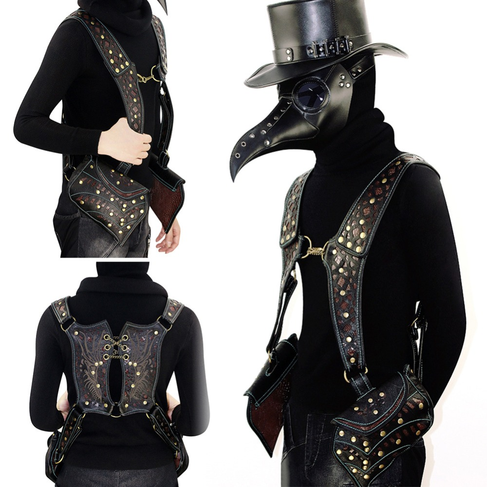 Norbinus Men Steampunk Waist Bag Women Gothic Vest Bags Cool Rucksack Shoulder Back Pack Motorcycle Punk Belt Bag Phone Pouch