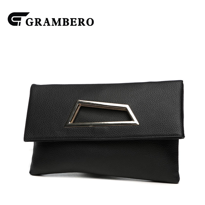 Fashion Soft Genuine Leather Folding Women Banquet Clutch Bag Solid Color Cover Modern Shoulder Crossbody Bag Envelope Big Purse new punk fashion metal tassel pu leather folding envelope bag clutch bag ladies shoulder bag purse crossbody messenger bag