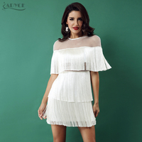 Adyce 2019 Summer White Tassels Celebrity Evening Party Dress Women Black Short Sleeve Mesh Sexy Hollow Out Fringe Club Dresses