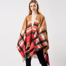 2019 New Ponchos Caps for Women Winter Scarf Blanket Simple Stripe Shawls and Wraps Thicken Tassels Pashmina Ladies Winter Cloak