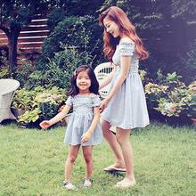2017 Summer Family Matching Outfits Stripe Elastic Parent Girl Off Shoulder Dress Children Clothing 3-7T 604607