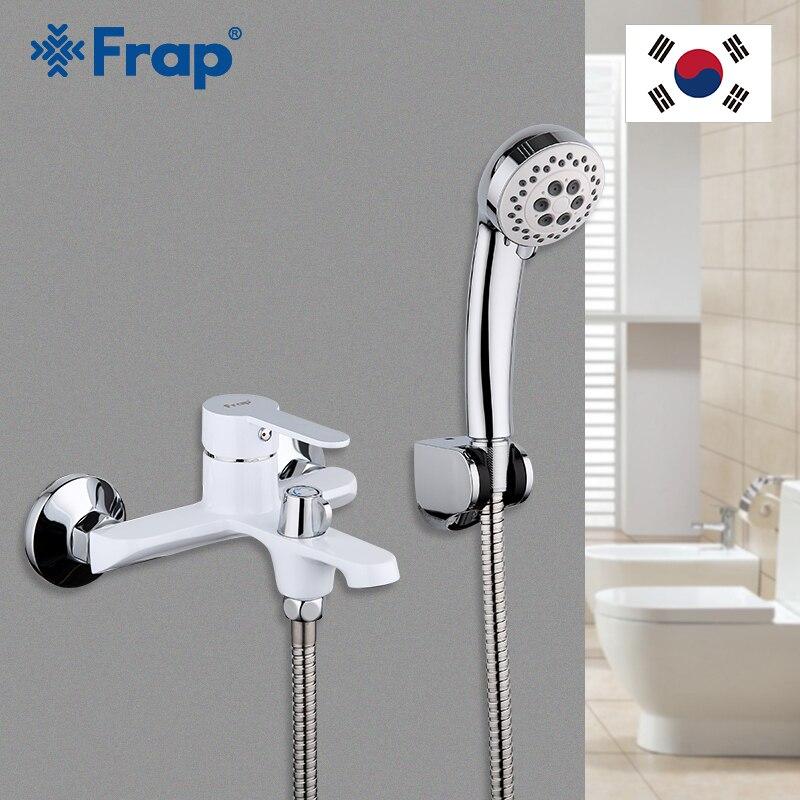 FRAP blanc salle de bain luminaire cascade toilettes bain douche robinets Set mural baignoire froide et chaude eau mélangeur F3241