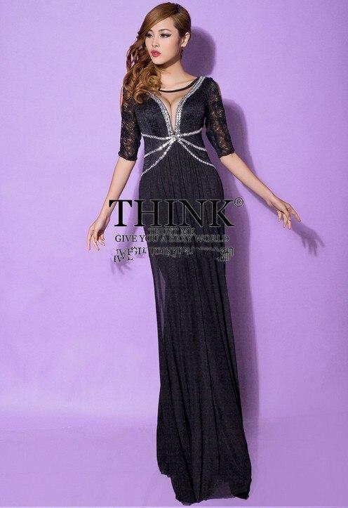 Распродажа, кружевное Длинное нарядное платье трапециевидной формы с v-образным вырезом Вечерние платья vestido de festa rendo robe de soiree Abiti da sera H0649 - Цвет: Black