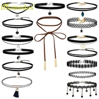 Diomedes Fashion Women 15 Pieces Choker Necklace Set Stretch Velvet Classic Gothic Tattoo Lace gift Jewelry Necklace *0104