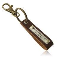 Llavero de cuero de encargo, nombre de aleación de llavero, envío libre del regalo del padre, anillo de llave personalizada para Papá