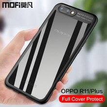 OPPO R11 чехол оригинальный OPPO R11 задняя крышка силиконовый + жесткий и мягкий защитный телефон случаях Mofi OPPO R11 плюс Чехол