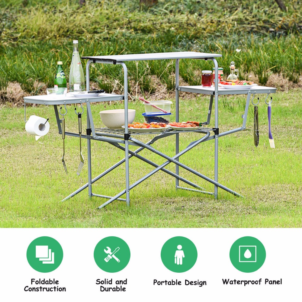Goplus Foldable Camping Table Outdoor Kitchen Portable Grilling Stand Folding BBQ Table Outdoor Furniture OP3688 ru aliexpress com мотоутка