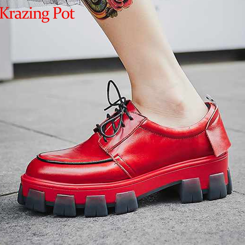 Krazing Pot 2019 Genuine Leather Lace Up Platform Waterproof Street High Fashion Round Toe European Leisure Vulcanized Shoes L18
