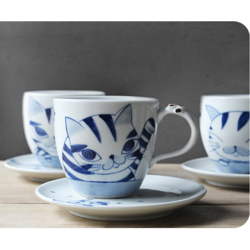Exquisite cute cat coffee cup Creative Arts Hand Painted small capacity ceramic cup black tea cup