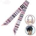 100*5CM 100%Silk Winter Bag Handle Women Small Ribbon Scarf Geometric Printed Long Narrow Scarves Hair Band Tie Twilly S6