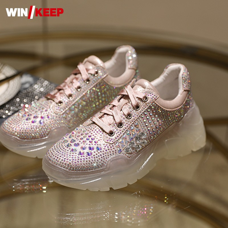 Fashion Bling Bling Rhinestone Running Shoes Women Light Weight Breathable Reflective Sneakers Cow Leather Lace Up Sport Shoes