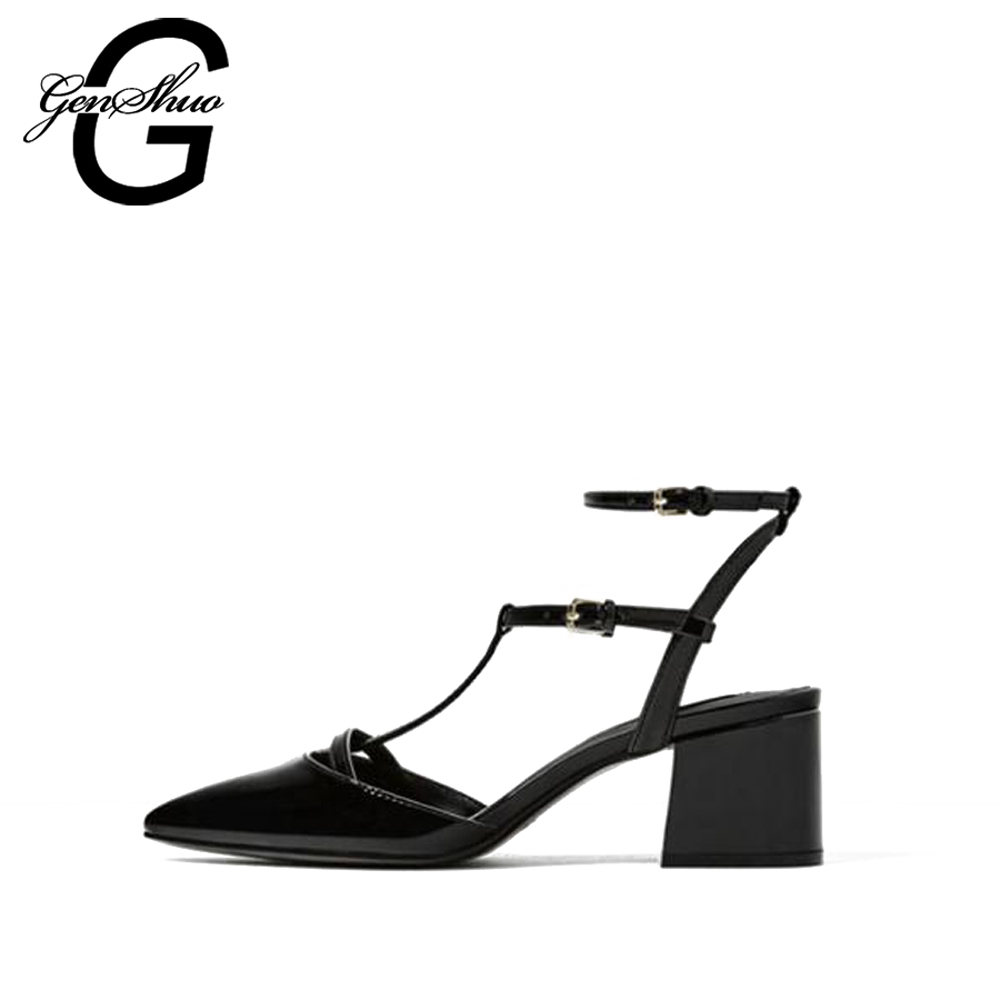GENSHUO 2018 Hot Sexy Black T Strap Women Pumps Pointed Toe High Heels 6CM Wedding Dress Shoes for Women BlackGENSHUO 2018 Hot Sexy Black T Strap Women Pumps Pointed Toe High Heels 6CM Wedding Dress Shoes for Women Black