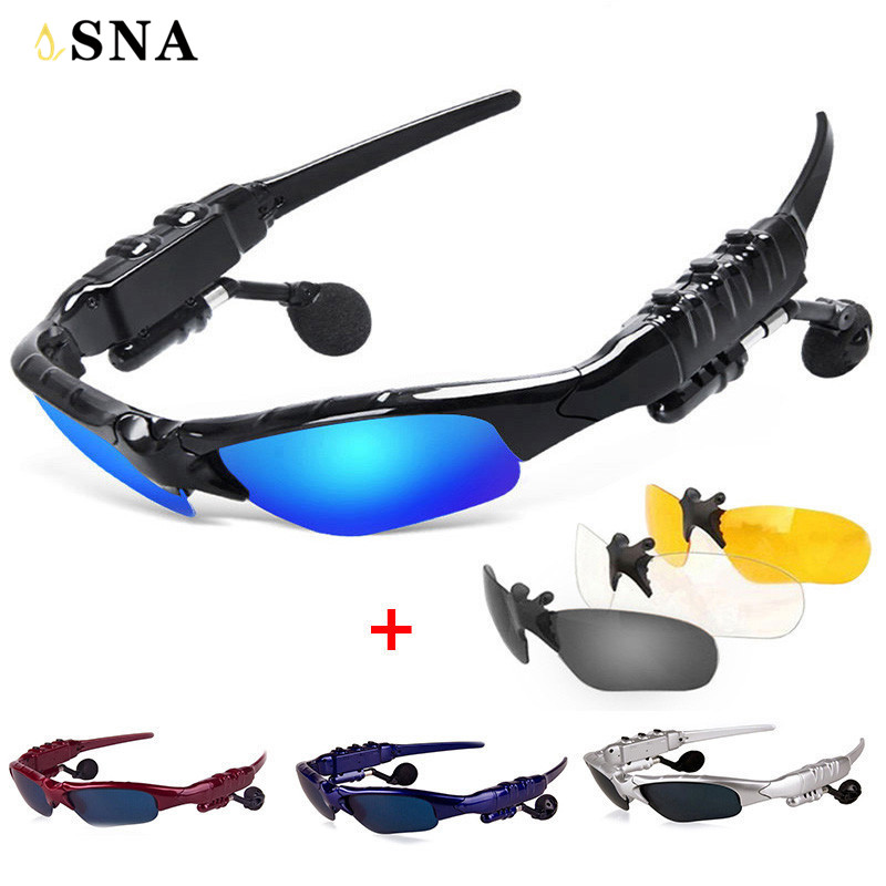 Smart Glasses Bluetooth Earphone Bluetooth Sunglasses Outdoor Sun Glasses Wireless Headphones Microphone for xiaomi xaomi Sony sport stereo wireless bluetooth headset colorful sun lens earphones sunglasses mp3 riding glasses for lenovo sony xaomi xiaomi i