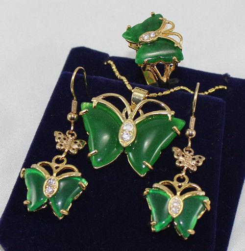 Women's Wedding Pretty GP butterfly green gem pendant Necklace earrings ring set silver jewelry brinco real silver jewelry