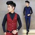 Luxury Brand 2016 New Classic Red Blue Mens Suit Slim Vest Fit Vintage Trendy Formal Business Masculine Black Blazer Social vest