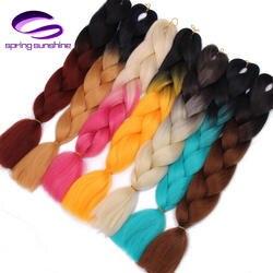 Весна солнце Длинные Ombre Плетение волосы из канекалона Jumbo плетеные косы волос 100 г 24 дюймов Синтетические волосы расширения Jumbo косы