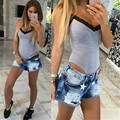 2016 New Sexy stitching lace V-neck sling bodysuits women 3 colors 4 size Jumpsuits & Rompers women