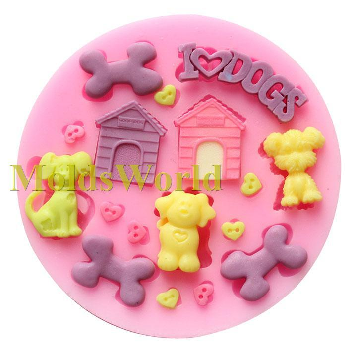 Dog Safe Cake Decorations : Mini Pet Dog Theme Food Grade Silicone Mold Chocolate Cake ...