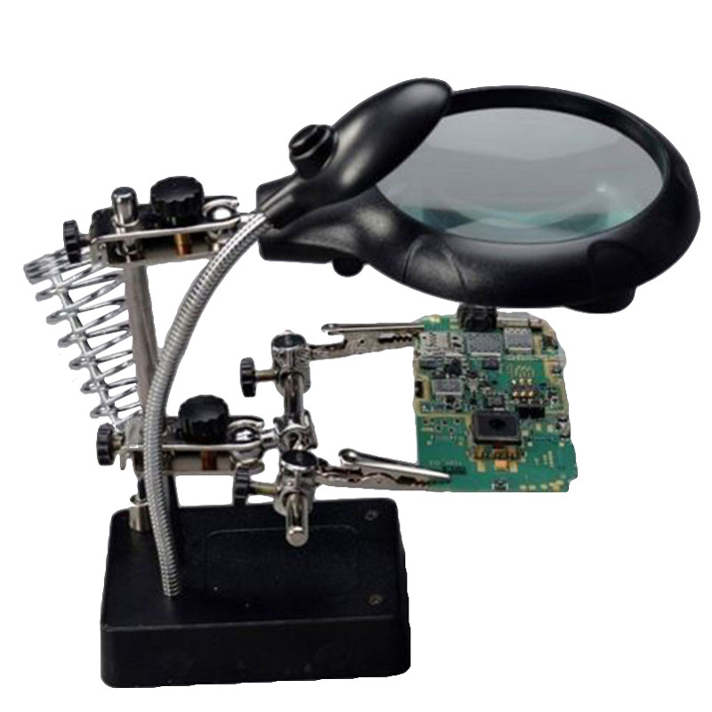 5 LED Auxiliary Clip Magnifier 3 In 1 Exchangeable Lens Hand Soldering Solder Iron Stand Holder Station Welding Magnifying Glass 220v 10x desk clip on led illuminated green optical big magnifying glass led lamp folding stand large magnifier with led lights