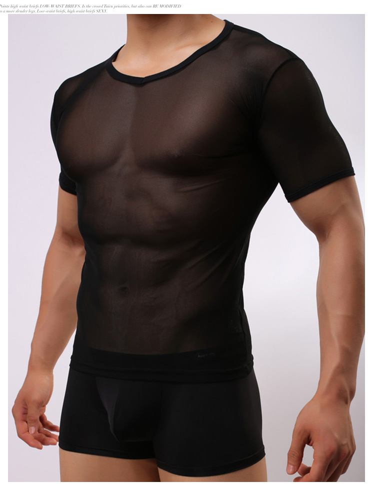 Hot Sexy Men See Through Tight Mesh Shirts Transparent Muscle Tank Tops Undershirt Soft Night Club Erotic Lingerie FX1018