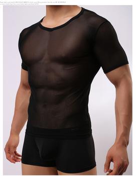 Hot Sexy Men przepuszczalność szczelne siatki koszule przezroczyste Muscle Tank topy podkoszulek miękkie klub nocny bielizna erotyczna FX1018 tanie i dobre opinie Mężczyźni Spać topy 16060502 Poliester Krótki Stałe Suknem