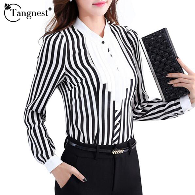 TANGNEST Women Shirts OL Business Office Style 2017 Spring Autumn Stripe O-neck Long Sleeve Ruffles Vintage Blouse WCL921