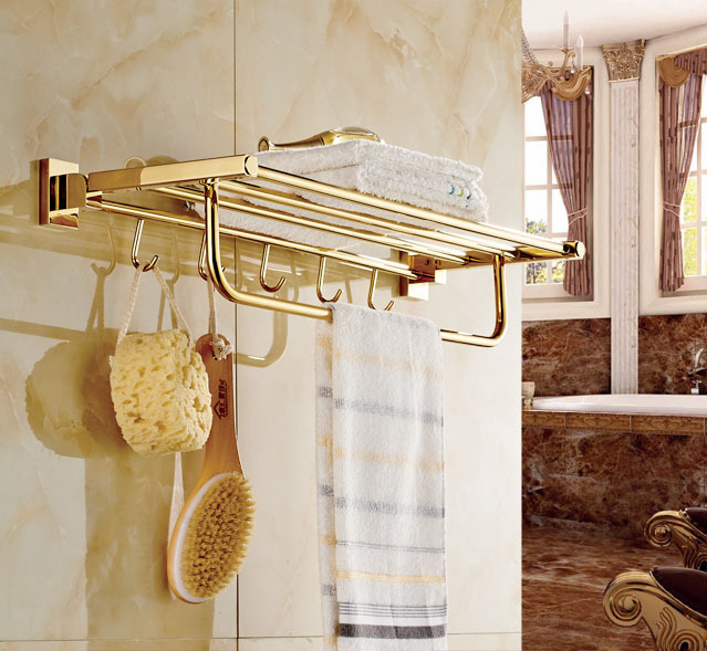 Luxury Gold Brass Bath Towel Shelf Holder Wall Mounted Towel Rack ...