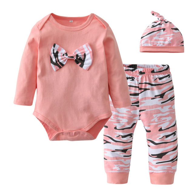 8f44b94c7f9dc Cute Newborn Baby Girls Clothes Long Sleeve Bowknot Romper Tops+Pink  Camouflage Pants+Hat Infant Clothing Toddler 3Pcs Baby Set