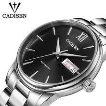CADISEN Original marque montre hommes automatique auto vent en acier inoxydable 5atm étanche affaires hommes montre bracelet montres C1032