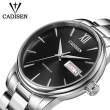 CADISEN العلامة التجارية الأصلية ساعة الرجال التلقائي الذاتي الرياح الفولاذ المقاوم للصدأ 5atm مقاوم للماء رجال الأعمال ساعة معصم الساعات C1032