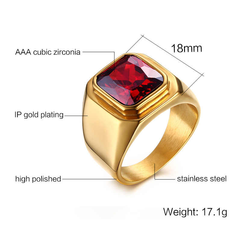 Vnox ชายแหวนสีแดง Cz สแควร์สแตนเลสสตีลสีทุกวันชาย Alliance เครื่องประดับขนาด
