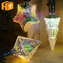 3D LED Bulb Decoration E27 Fireworks Lamp AC85-265V A60 ST64 G80 G95 G125 Heart Star Christmas Tree Novelty Holiday Light. 3d fireworks retro edison bulb 4w e27 g125 led light home bar decor lighting colorful glass globe lamp 420lm ac85 265v