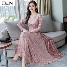 Large size M-3XL2019 SPRING and summer new long-sleeved jacquard velvet V-neck womens dress high quality fashion elegant
