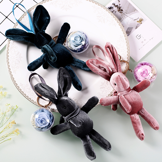 2019 New Easter Rabbit easter bunny Dried Flower Pendants for Keychain/Car Decoration/Home Decor Forever Rose Flowers Hanging