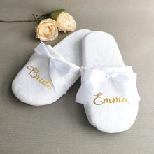 Customized Wedding Slippers,Personalized Bride&Bridesmaid Name Slippers,Bridal Party Spa Slippers,Bachelorette party favors gift(China)