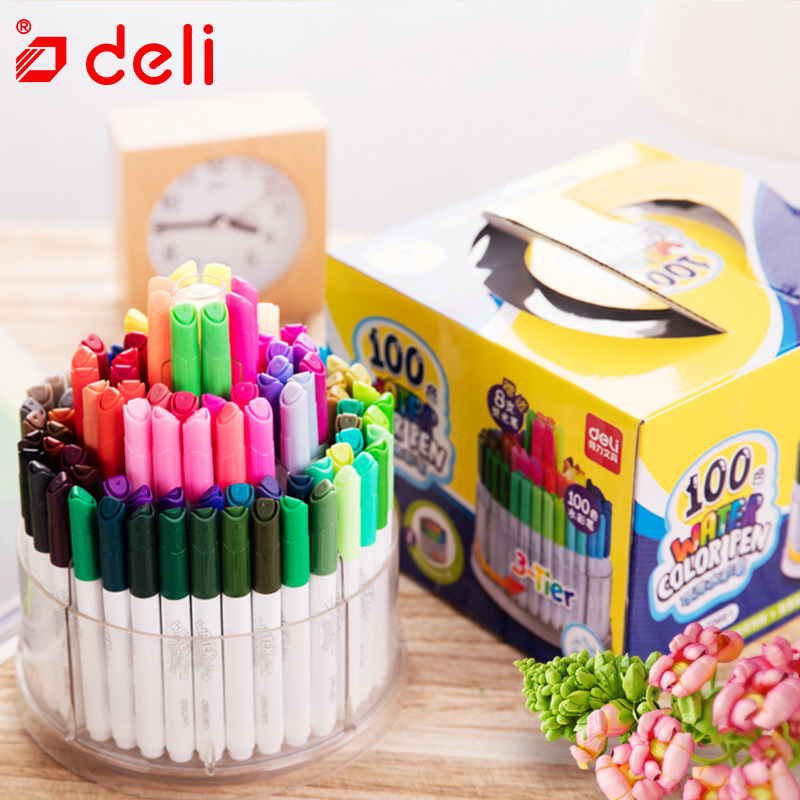 Deli 100Colors Watercolor Pen Artist Marker Pen for Drawing Painting Water Based Ink Sketch Marker Gift for Kids School Supplies deli s557 marker pen