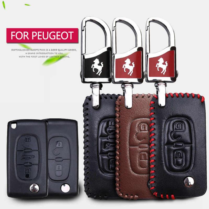 Genuino cuero coche caso clave para Peugeot 308, 301, 106, 107, 206, 207, 407, 307, 3008, 2008, 508 Rcz socio 2017, 2018